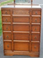 Tall Oak Carved Dressing Chest of Drawers - SOLD